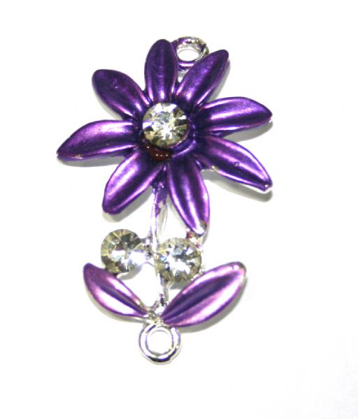 1pce x 35mm*22mm Purple daisy with leaves connector - enameled alloy charm with rhinestones